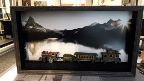 Antique Cast Iron Train Framed
